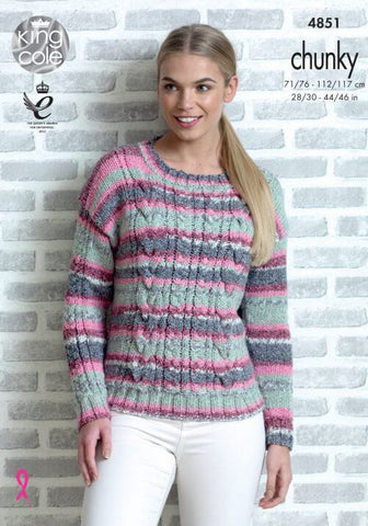 Sweater and Cardigan in King Cole Drifter Chunky (4851)