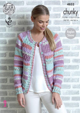Raglan Sweater and Cardigan in King Cole Drifter Chunky (4852)