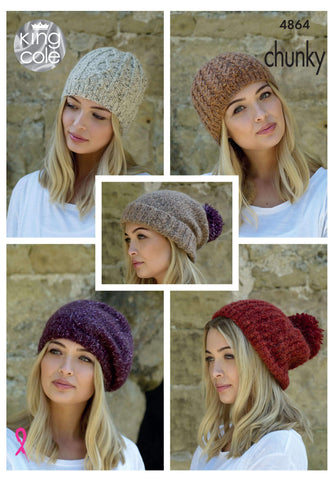Ladies Beanies in King Cole Indulge Chunky (4864)