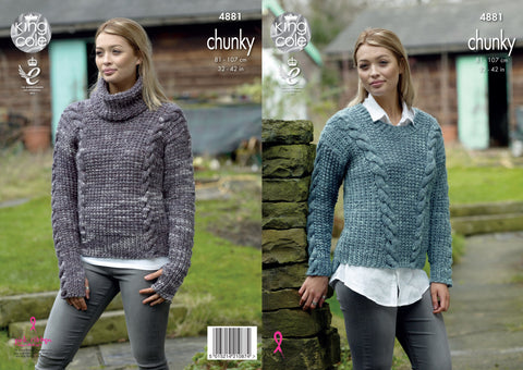 Sweaters Knitted In King Cole Big Value Tonal Chunky (4881)