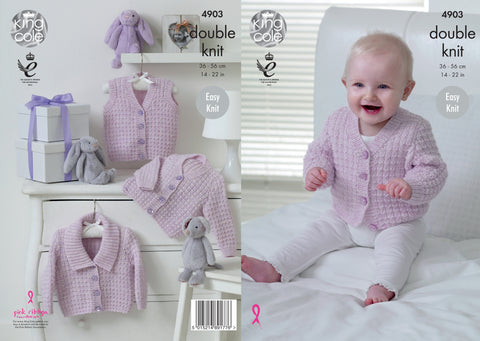 Waistcoat and Cardigans in King Cole Baby Pure DK (4903)