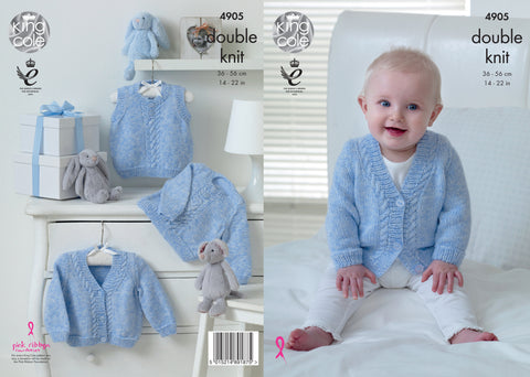Sweater, Slipover and Cardigan in King Cole Baby Pure DK (4905)