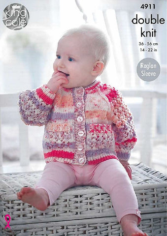 Baby Raglan Cardigans and Sweater in King Cole Cherish (4911)