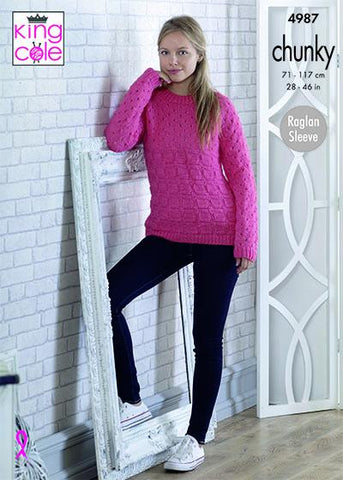 Sweater and Cardigan in King Cole Big Value Chunky (4987)