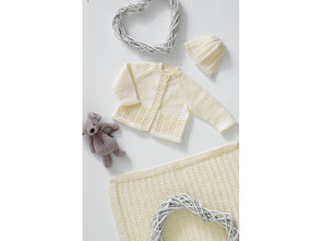 Cardigan, Hat and Blanket by Jenny Watson in James C. Brett Baby 4 Ply (5002)