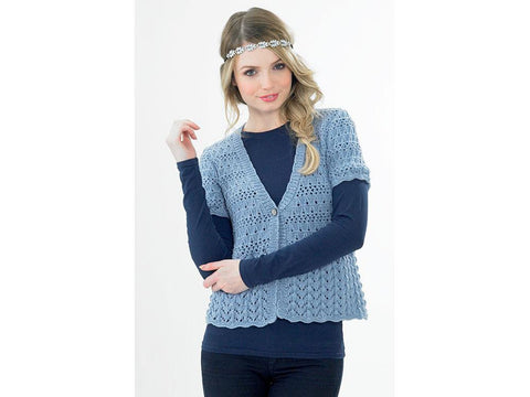 Cardigan with Lacey Peplum by Jenny Watson in Deramores Studio DK (5041)