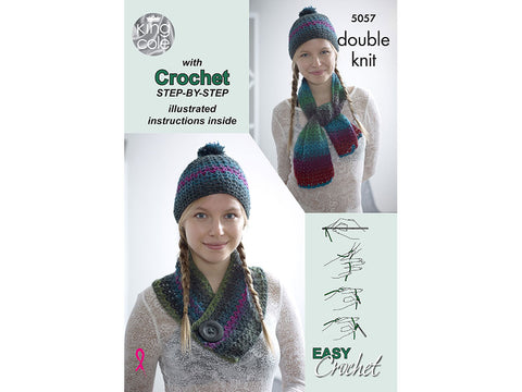 Riot Scarf, Hat & Cowl Set Crochet Kit and Pattern in King Cole Yarn (5057)