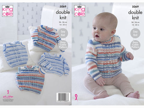 Sweaters & Slipovers in King Cole Candystripe DK (5069K)