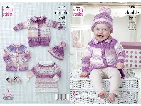 Cardigan, Coat, Tunic & Hat in King Cole DK (5137K)