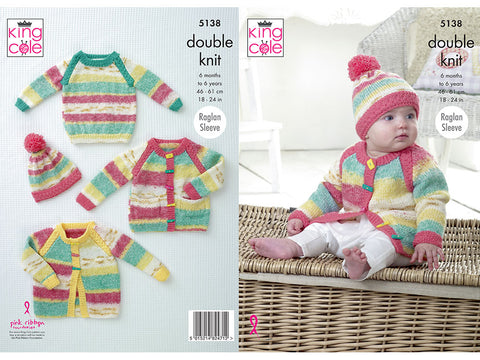 Jacket, Cardigan, Sweater & Hat in King Cole DK (5138K)