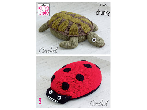 Ladybird & Turtle Poof in King Cole Big Value Chunky (5146K)
