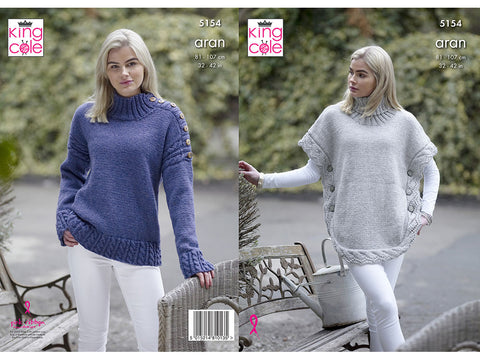 Poncho & Sweater in King Cole Fashion Aran (5154)