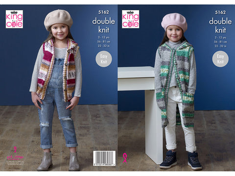 Girl's Waistcoats in King Cole Splash DK (5162K)