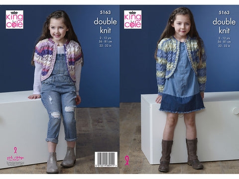 Girl's Cardigans in King Cole Splash DK (5163K)