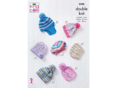 Hats in King Cole Cherish DK (5200) Knitting Kit and Pattern
