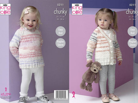 Sweater and Cardigan in King Cole Comfort Cheeky Chunky (5211)