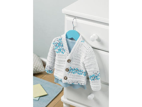 Boy's Cardigan Crochet Kit and Pattern in Hayfield Yarn (5234)