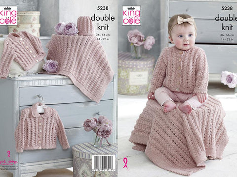 Cardigans, Blanket & Hat in King Cole Baby Glitz DK (5238)