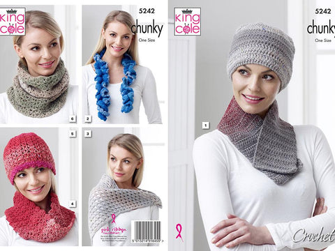 Hat, Scarf, Shawl and Neck Roll Crochet Kit and Pattern in King Cole Twirly Yarn (5242)