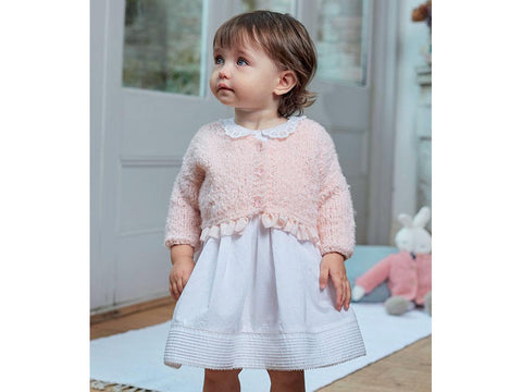 V-Neck Girls & Dolls Cardigan in Sirdar Snuggly Bouclette (5257)