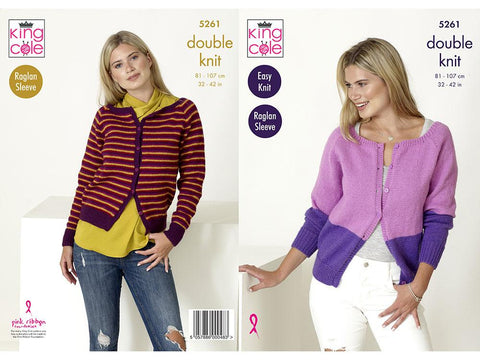 Raglan Cardigans in King Cole Big Value DK 50g (5261)
