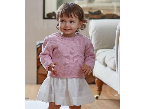 Girls Star Jumper in Sirdar Snuggly 100% Cotton (5269)
