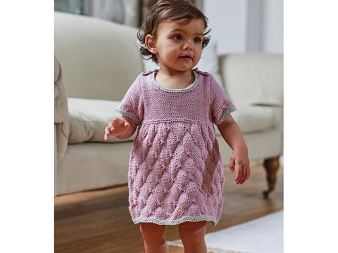 Baby Girls Dress in Sirdar Snuggly 100% Cotton DK (5279S)