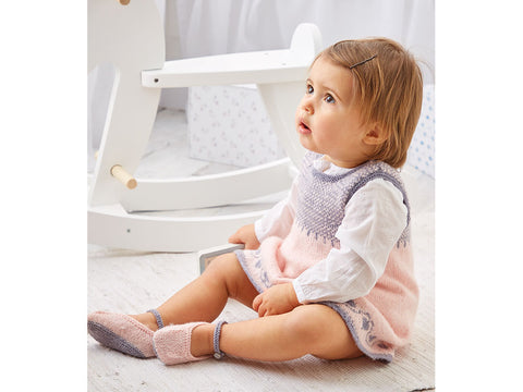 Girl's Pinafore and Shoes in Sirdar Snuggly 100% Merino 4 Ply (5301S)