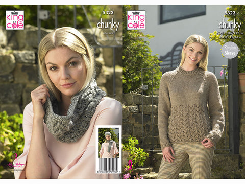 Sweater, Hat, Scarf & Cowl in King Cole Big Value Chunky (5323K)