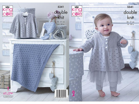 Matinee Jacket, Bootes, Hat & Blanket in King Cole Finesse Cotton Silk DK (5341K)