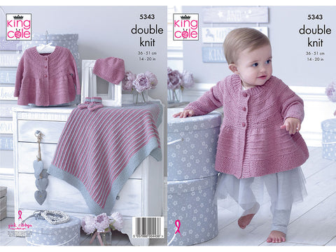 Matinee Jacket, Hat, Bootees & Blanket in King Cole Finesse Cotton Silk DK (5343K)