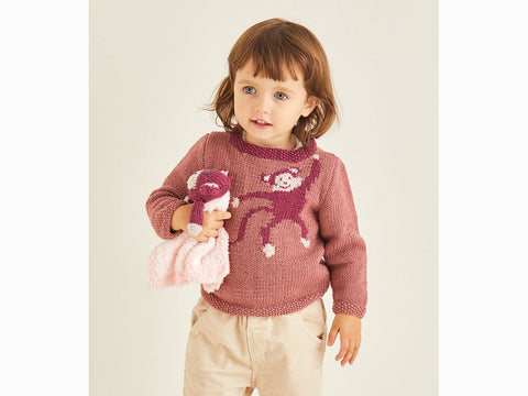 Girl's Sweater and Cuddle Blanket in Sirdar Snuggly Baby Cashmere Merino DK & Snuggly Bunny (5374S)