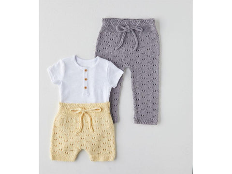 Leggings and Shorts Knitting Kit and Pattern in Sirdar Snuggly 100% Cotton DK Yarn (5377S)