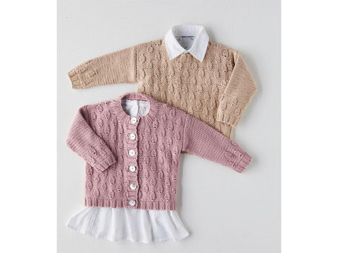 Cardigan and Sweater Knitting Kit and Pattern in Sirdar Snuggly 100% Cotton DK Yarn (5379S)