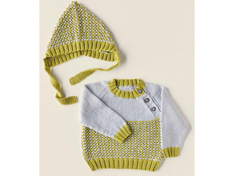 Sweater and Bonnet Knitting Kit and Pattern in Sirdar Snuggly 100% Cotton DK Yarn (5380S)