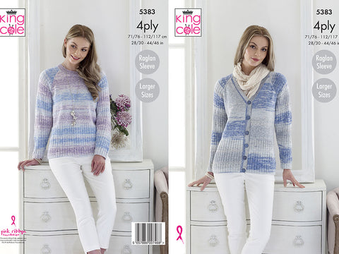 Cardigan & Sweater in King Cole Drifter 4 Ply