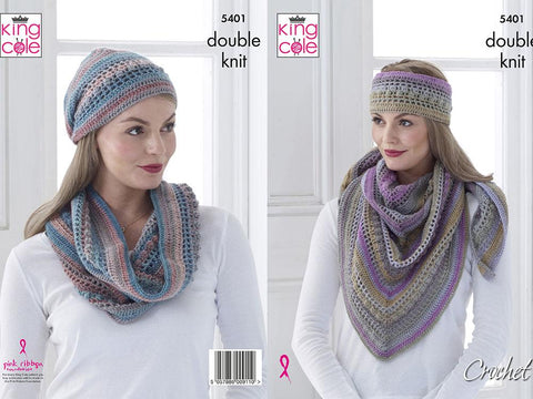 Shawl, Cowl & Hat Crochet Kit and Pattern in King Cole Yarn (5401K)