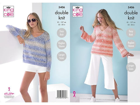 Ladies Sweaters in King Cole Caribbean Calypso DK (5406)