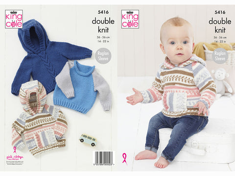 Babies Raglan Sweaters Knitting Kit and Pattern in King Cole Cherish DK & King Cole Cherished DK Yarn (5416K)