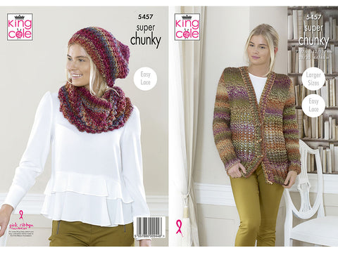 Cardigan, Hat and Cowl in King Cole Explorer Super Chunky (5457K)