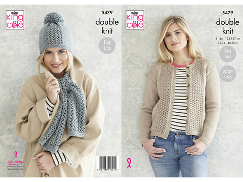 Ladies Cardigan, Scarf & Hat in King Cole Subtle Drifter DK (5479K) Knitting Kit and Pattern