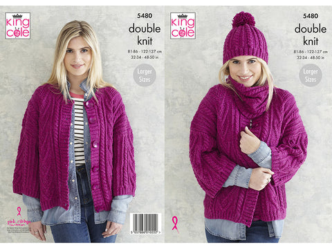 Ladies Jacket, Snood & Hat in King Cole Subtle Drifter DK (5480K)