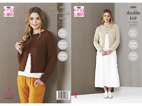 Ladies Cardigan and Top in King Cole Natural Alpaca DK (5495K)