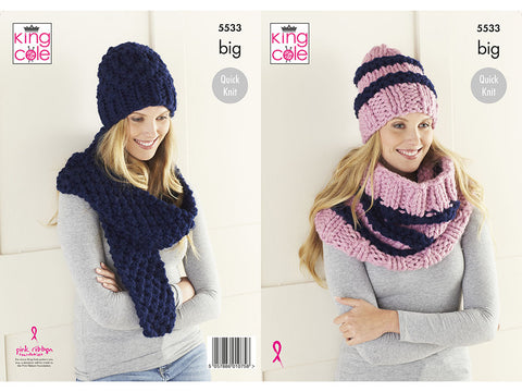 Hats, Cowl & Scarf in King Cole Big Value BIG (5533K)
