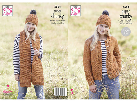 Ladies Cardigan, Scarf and Hat in King Cole Big Value Super Chunky Stormy (5554K)