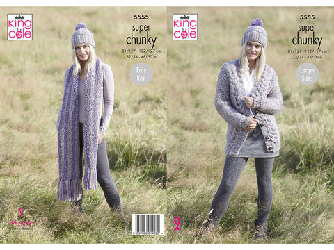 Ladies Cardigan, Scarf & Hat in King Cole Big Value Super Chunky Stormy (5555K)