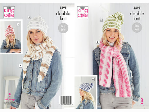 Hats, Beret & Scarves in King Cole Stripe DK (5598K)