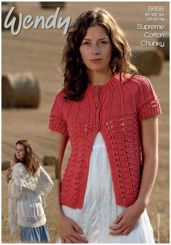 Cardigan and Lacy Shawl in Wendy Supreme Luxury Cotton Chunky (5658) Digital Version