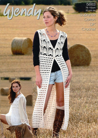 Crochet Waistcoats in Wendy Cotton DK (5663)