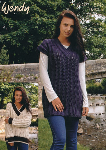 V Neck Sweater and Tunic in Wendy Mode Chunky and Merino Chunky (5746)